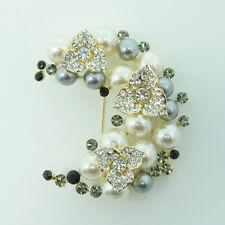 crystals pretty flowers brooch pin 14k Gold Gf pearls with Swarovski