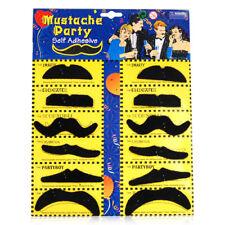 Stylish 12 Fake Mustaches Moustaches Moustache Set Fancy Dress Party Birthday