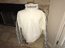 VTG 90s Adidas Spell Out Pullover Jacket Mens SZ S 3 Stripe White Black Snap Zip