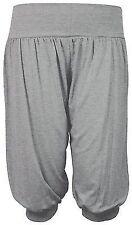 Women's Ladies Girls Plain Ali Baba 3/4 Harem Baggy Trousers Short Pants  8-14