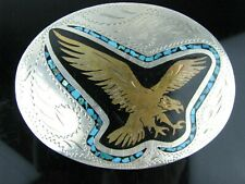 Vintage Eagle Brass & Turquoise Inlay Handcrafted Western Belt Buckle-Awesome