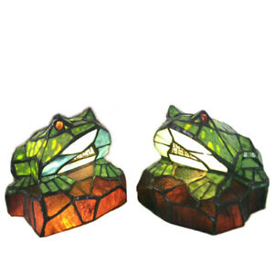 Tiffany Style Stainted Glass Animals Green Frog Table Lamp Night Lights Gifts