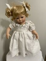 Patience w/ Pigtails Adorable Porcelain Doll White Eyelet Dress Jeanne Singer