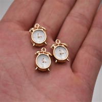 10pcs 3D White Enamel Alarm Clock Charm Pendant 15*10mm Fit Bracelet DIY Making