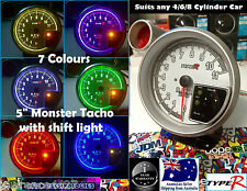 "5"" Monster Tacho 7 Colour & Shift Light *Gauge RPM Skyline WRX Civic Rev Turbo*"