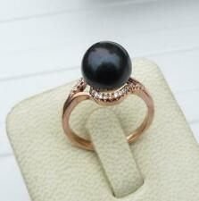 Genuine AAA 10-11mm Natural black  Akoya South Sea  Pearl Ring 8#