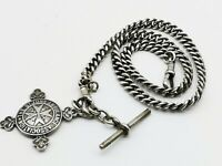 Antique  Sterling  Silver Double Albert Watch Chain & Large Fob Medal C.1919.