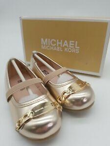 "NEW!!! Michael Kors Toddler Girls ""Tori Wilmington"" Flats - Rose Gold - Size 8"