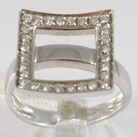Anillo de Oro Blanco 750 18 Ct ,Veretta Ondulado, Cuadrado Diamantes, Quilates