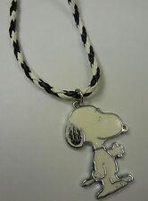 Damen Mädchen Snoopy Hund Anhänger glitzer + Kette schwarz weiß - NEU