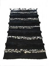 Stunning Black Beauty Moroccan Wedding Blanket/Handira Rug Wallhanging Gorgeous