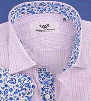 Mens Pink Blue Checkered Formal Business Dress Shirt Luxury Designer Floral Sexy