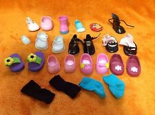 """Doll Shoes Lot Great For 14"""" To 18"""" Doll Including Battat, Dora, Hello Apple"""