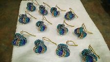 12 HANDMADE CHRISTMAS ORNAMENTS MADE WITH BLING BLUE TEAL AND GOLD
