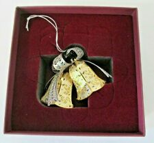 New ListingBaldwin Shimmering Bells 24kt Gold Finished Brass Christmas Ornament Iob
