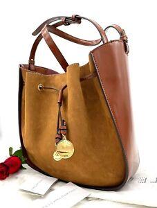 NWT Stella McCartney Medium Drawstring Suede Faux Leather Hobo Bucket Bag Cognac