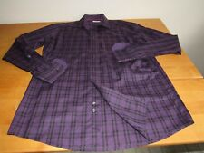 Eton of Contemporary 42- 16 1/2 European Made Purple/Blk Front Button Shirt-Flaw