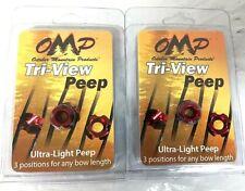 "Lot of 2 Omp 45395 Tri-View Ultra_Light Peep Aluminum 3/16"" Red - 0E_K1"