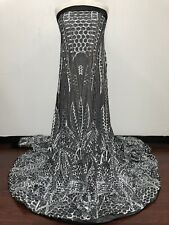 SEQUINED FABRIC by the YARD! BLACK MESH with SILVER SEQUINS