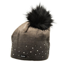 Eisbär Mütze Damen Dip Dye Lux Mütze mit Kunstpelz Bommel - Braun