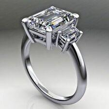 3 Stone 3.35Ct Emerald-Cut Diamond Solitaire Engagement Ring 10K White Gold Fini