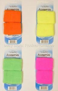 2 Coloured Sweatbands Wristbands Rave 80s Disco Clubwear Fancy Dress Accessories