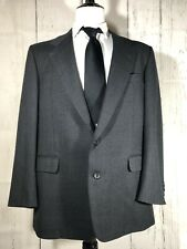 Hickey Freeman Men's 42L 38 x 30 Two Piece Suit Two Button Dark Gray Wool