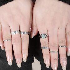 7 Stk Retro Vintage Gelenkring Ringe Set Versilbert  Gliederring Fingerring