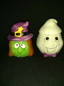 2 Halloween Ceramic Figure Head Containers Size 2.25 *2.25*2.5H