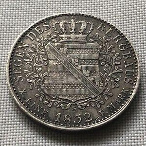Anton Sachsen silver mining thaler Ausbeutetaler 1832 S Rare!