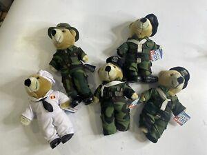 JJ Wind Patriot Bear Plush Original US NAVY / ARMY Teddy 1994 Vintage Lot Bundle