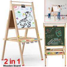 Kids Easel Wooden 2 in 1 Blackboard Whiteboard Childrens Drawing Art Chalk Board