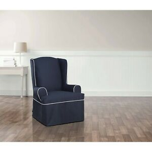Sure Fit Monaco Tailored Skirt Wing Chair navy NEW B