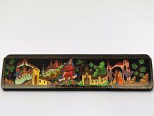 Boîte à bijoux collection décor 29x7cm miniature laquée PALEKH peint main signé