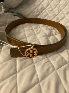 Tory Burch NWT T Monogram Leather belt size Small Moose 79436