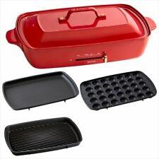 BRUNO Hot Plate Grande Size Flat & Takoyaki & Grill Plate BOE026-RD Red
