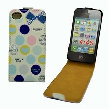 CASE FOR APPLE IPHONE 4 4S FOREVER LOVE CIRCLES FLIP PU LEATHER POUCH COVER
