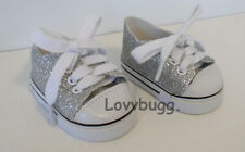 "Silver Glitter Sparkly Sneakers Doll Shoes for 18"" American Girl Best Selection"