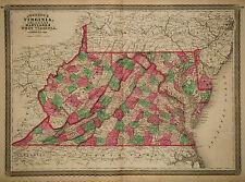 1870 Genuine Antique Hand Colored Map Virginia, West Virginia, De, Md. Johnson