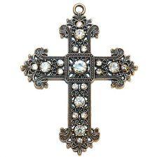 P2671L2 Ornate Rhinestone Crystal Antiqued Copper 87mm Cross Ornament Pendant
