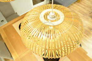 Handmade Bamboo Pendant Ceiling Lampshade, Ellipsoid Shape Natural Brown L014L