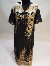 Women long floral chinese black beige dress kuftan caftan abaya gown M-L