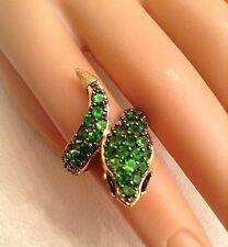Bright Green Gemstone Snake Ring, 925 Sterling Palladium,Michael Valitutti, Sz 5