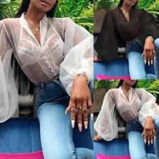 Women Plus Size Sheer Mesh Club Top Long Sleeve Blouse See-through Vintage Shirt