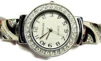 Versales Rhinestone Black White Hinged Cuff Bangle Bracelet New Batt Woman Watch