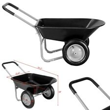 Wheelbarrow Garden Cart Heavy Duty 2 Tire Wagon Dump Cart Poly Yard Lawn Utility
