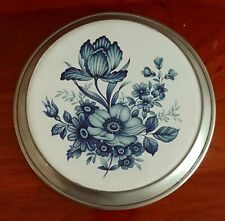 "Pewter Hot Plate, Decor ~ Ceramic Blue Floral Design and Cork bottom 7"" dia."