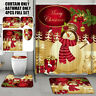 4Pcs Christmas Snowman Shower Curtain Bathroom Anti-slip Carpet Rug Toilet Cover