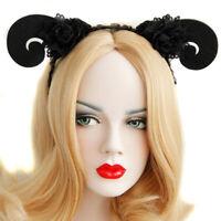 Headband Goth Halloween Animal Sheep Ram Horn Lace Costume Ball Cosplay Hairb_ne