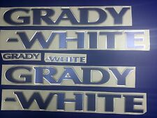 "Grady-White boat Emblem 40"" CHROME BLUE Epoxy Stickers Resistant to mech shock"